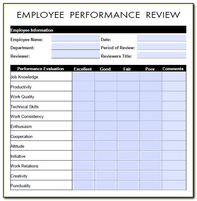Employee Performance Appraisal Form Sample
