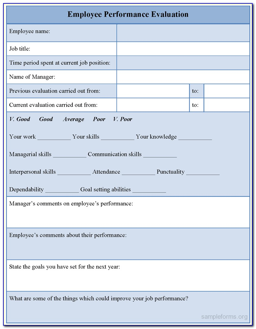Employee Performance Appraisal Form Xls