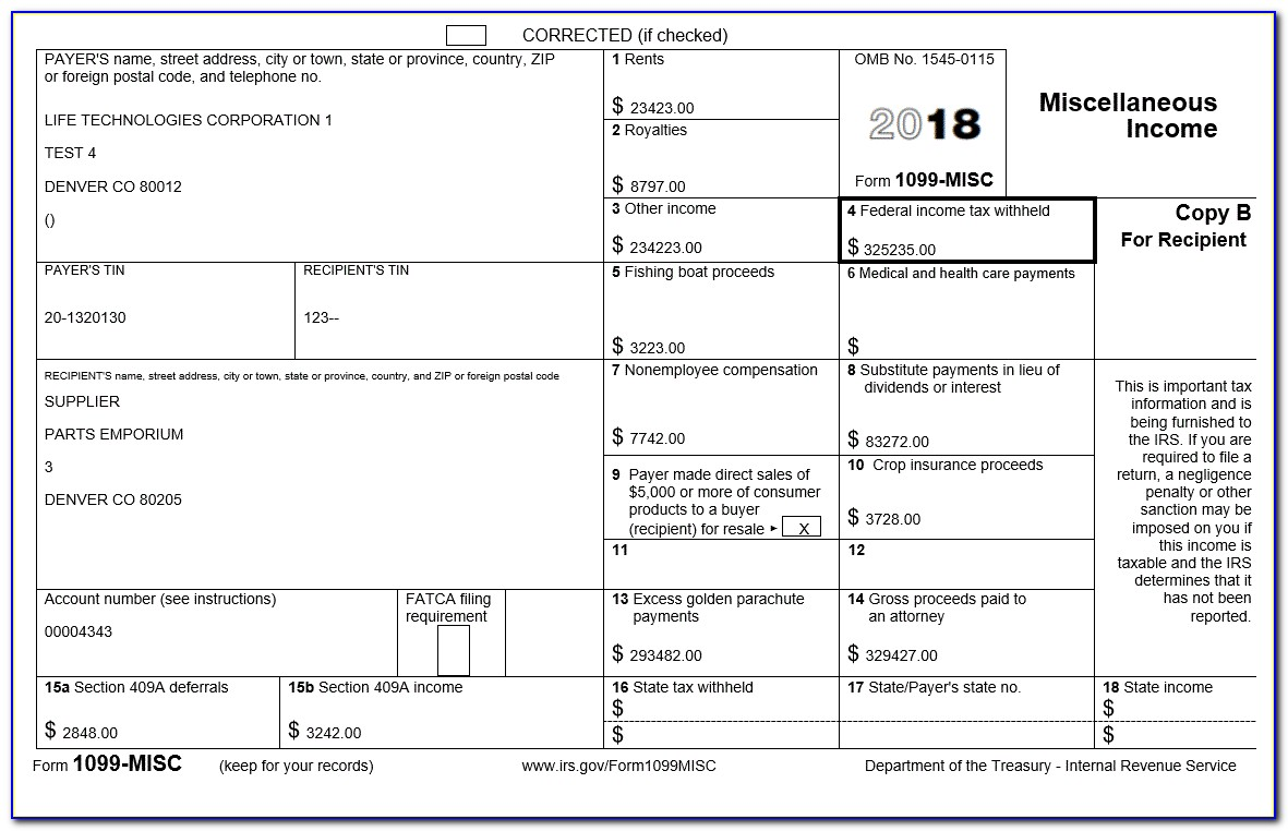 Example 1099 Misc Form Filled