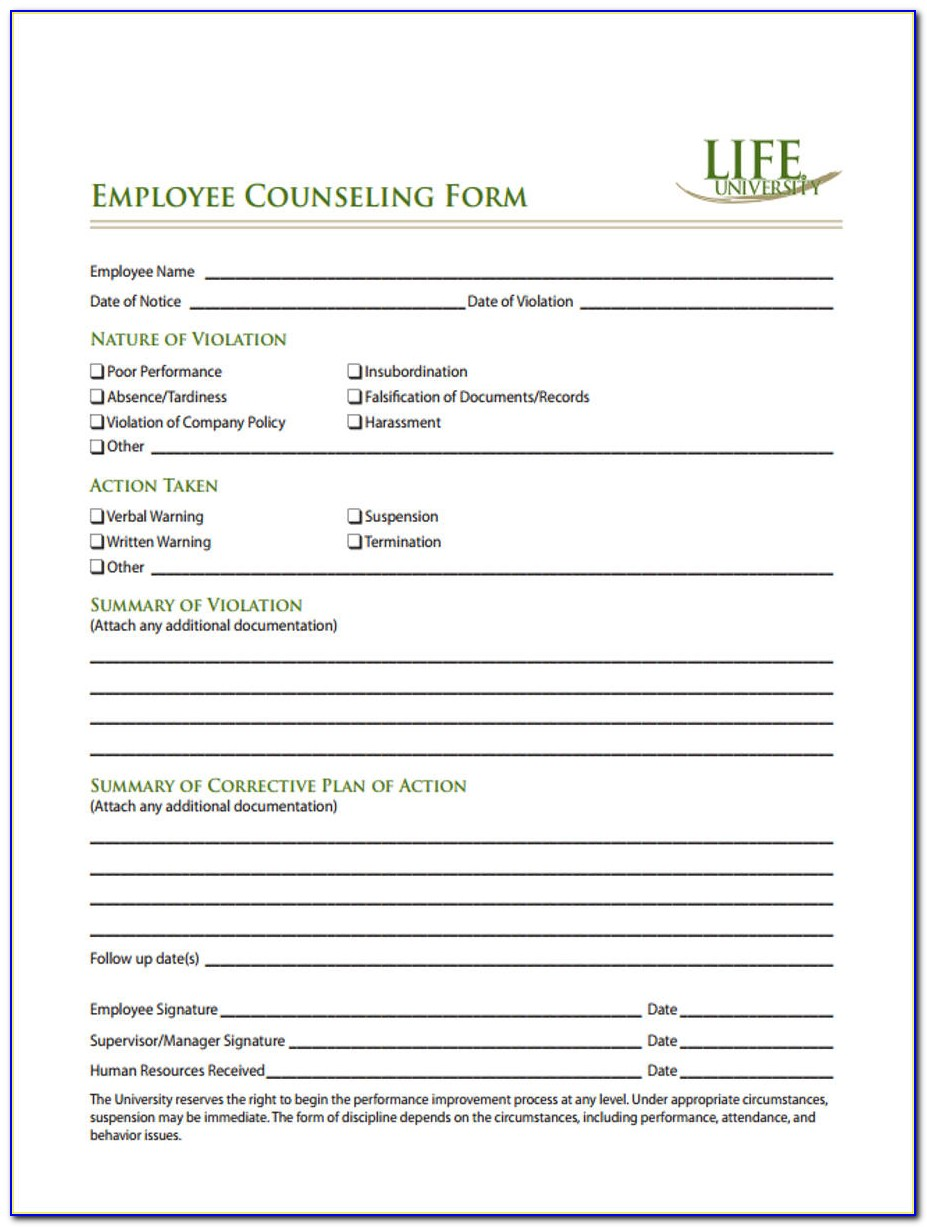 Example Of Employee Counseling Form