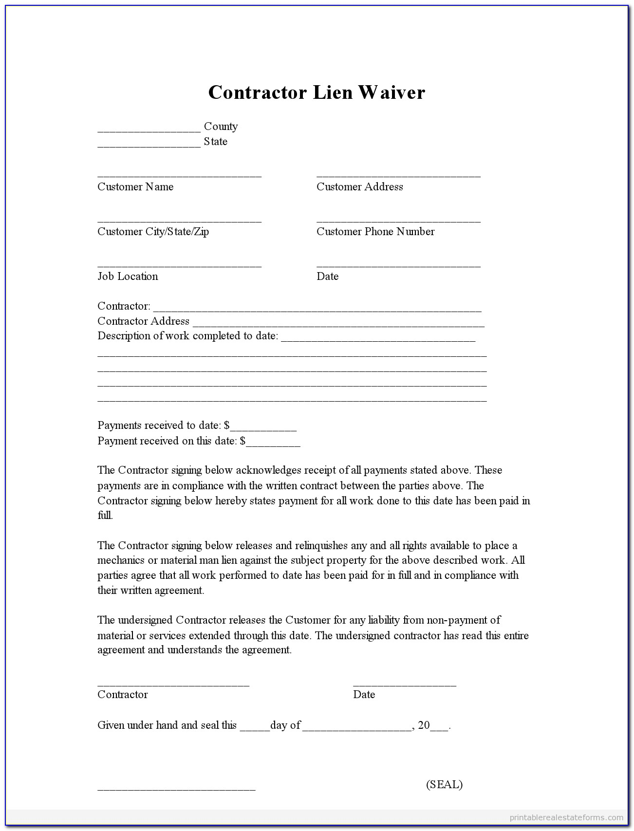Example Of Lien Waiver Form