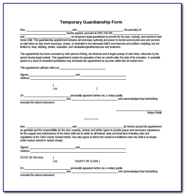 Example Of Temporary Guardianship Form