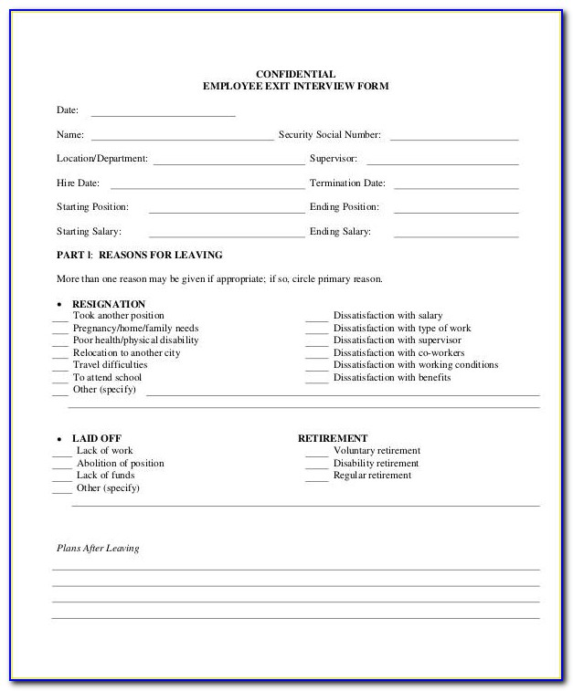 Exit Interview Form Template Free