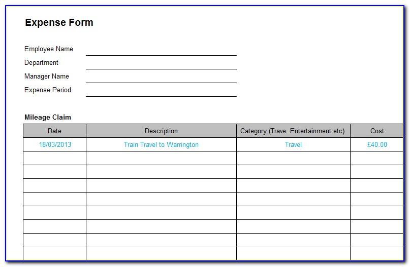 Expense Reimbursement Form Templates