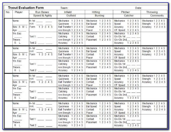 Fastpitch Softball Tryout Evaluation Forms