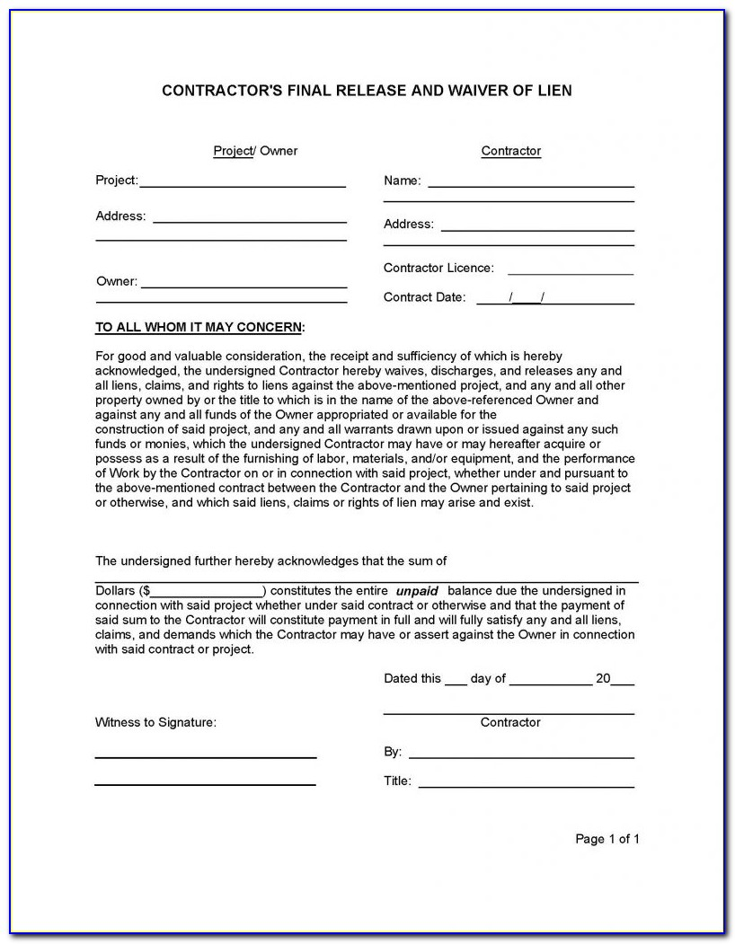 Fillable Final Waiver Of Lien Form