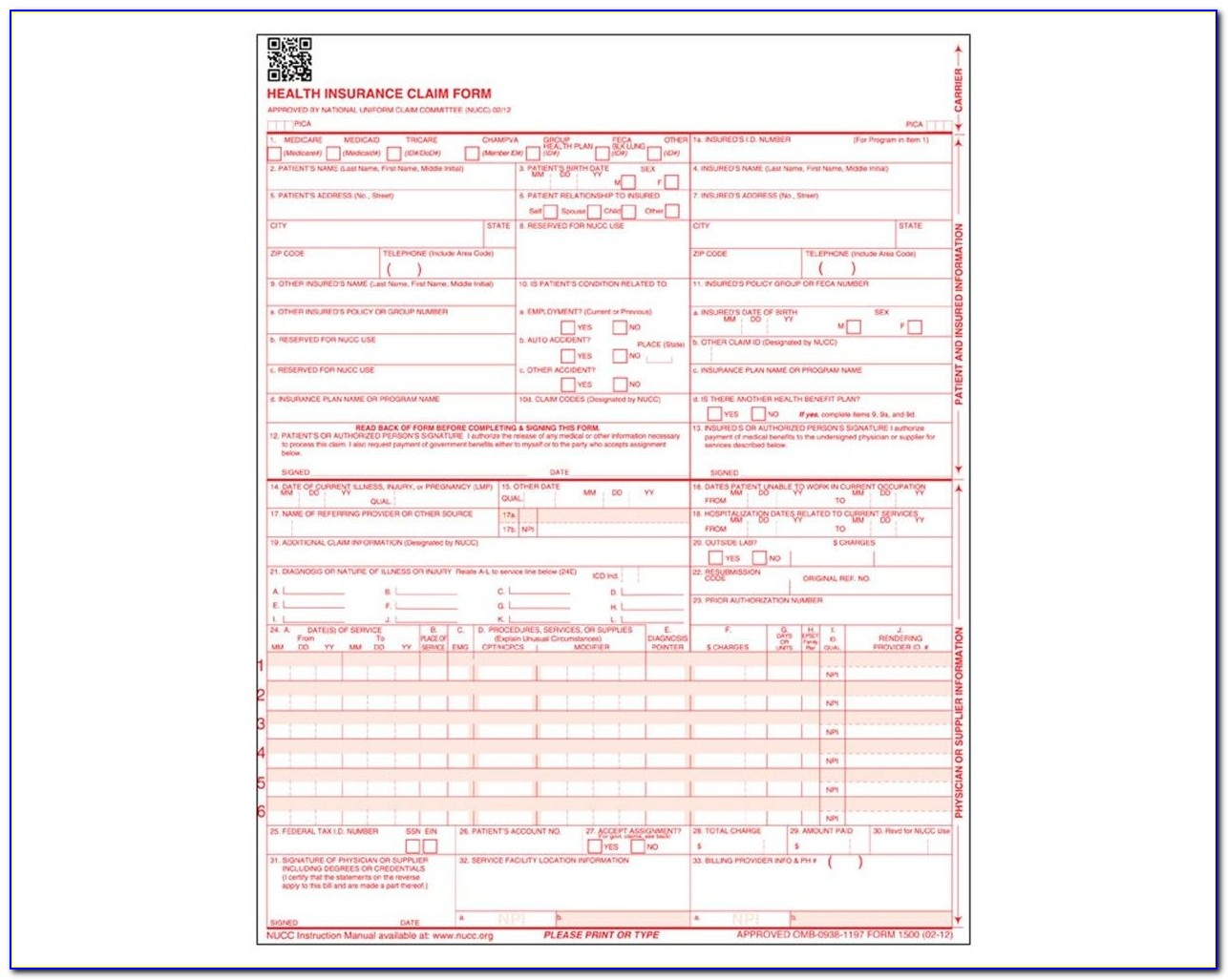 9352 14 Cms 1500 Claim Forms, Hcfa (version 02/12), 1 Part Throughout Cms 1500 Form Printable