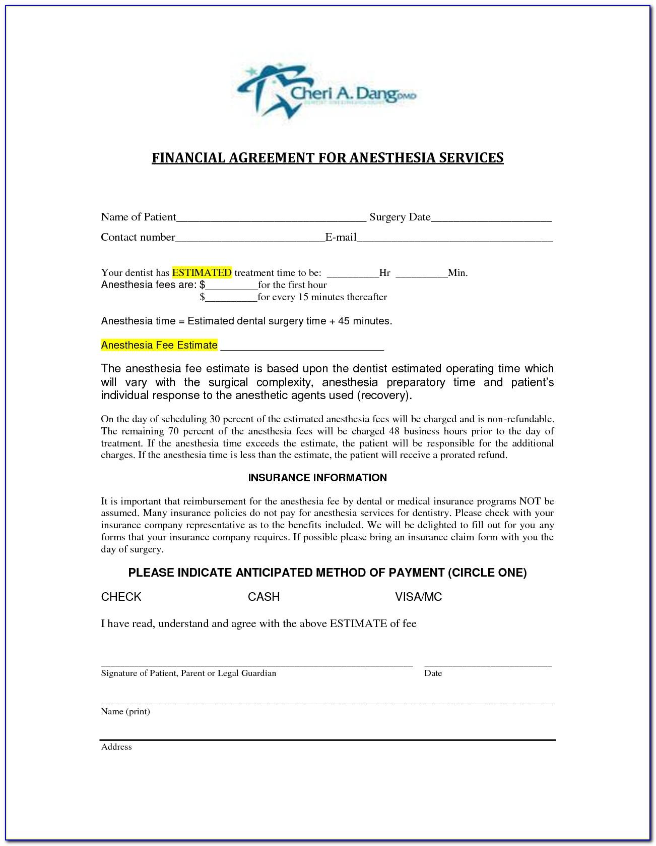 Financial Arrangement Forms Dental Office