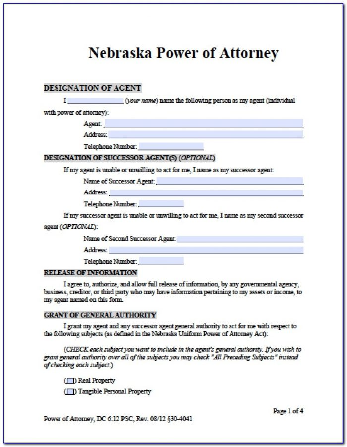 Financial Durable Power Of Attorney Form Missouri