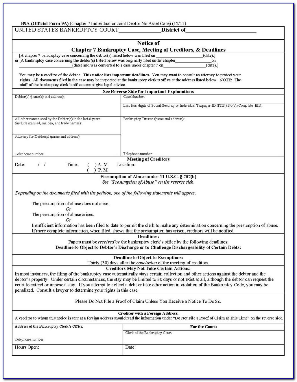 Florida Bankruptcy Forms Online