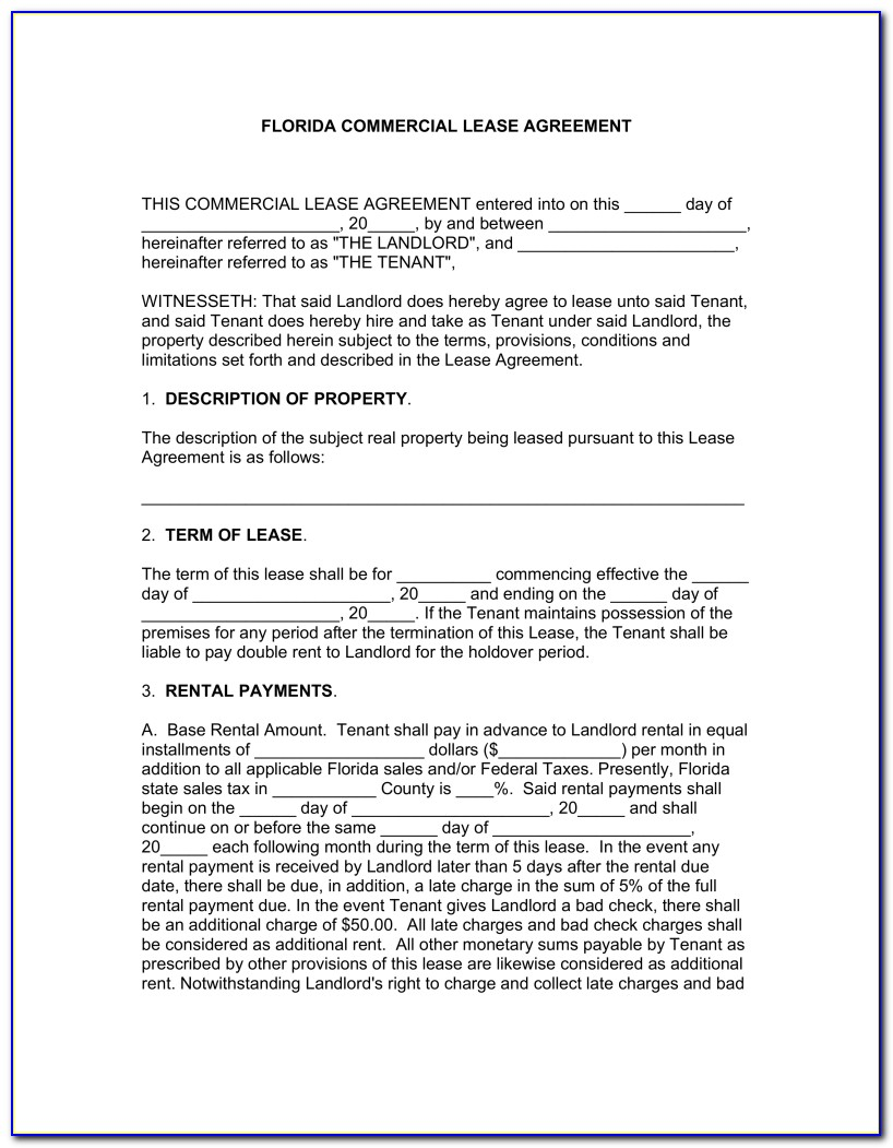 Florida Commercial Lease Agreement Free Form
