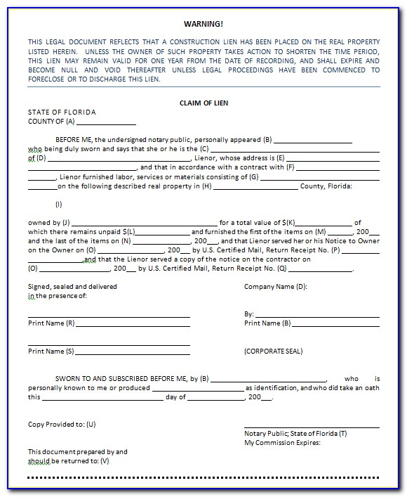 Florida Intent To Lien Forms