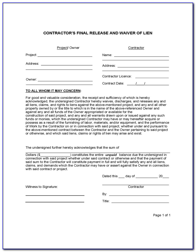 Florida Lien Notice To Owner