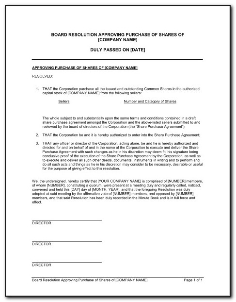 Florida Llc Corporate Resolution Form