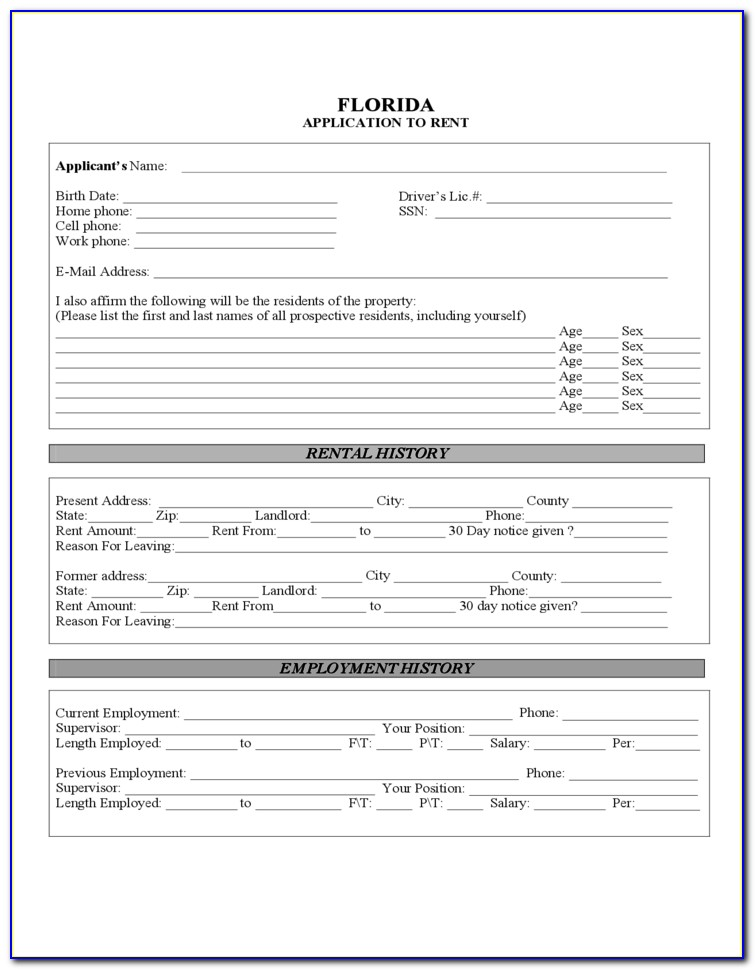 Florida Rental Lease Agreement Form Free