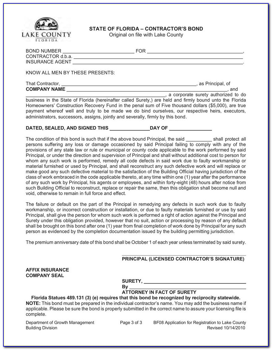 Florida Seller Of Travel Surety Bond Form