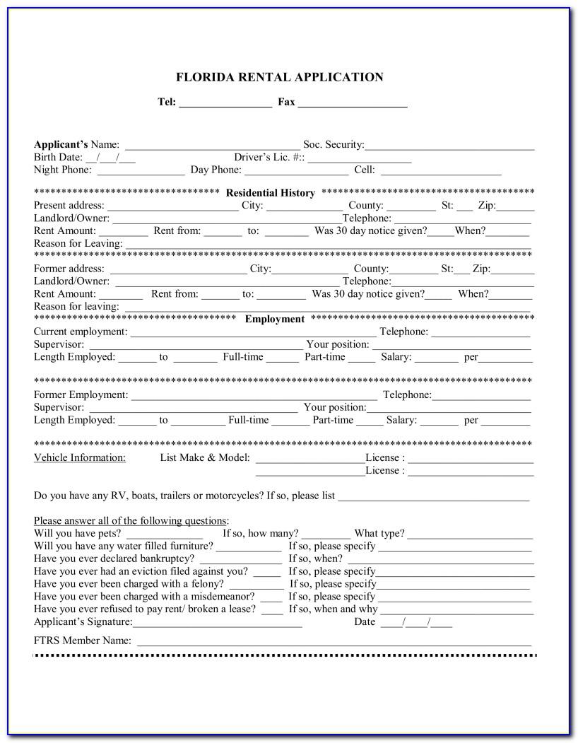 Florida Tenant Application Form Pdf