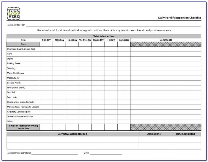 Forklift Inspection Forms Osha
