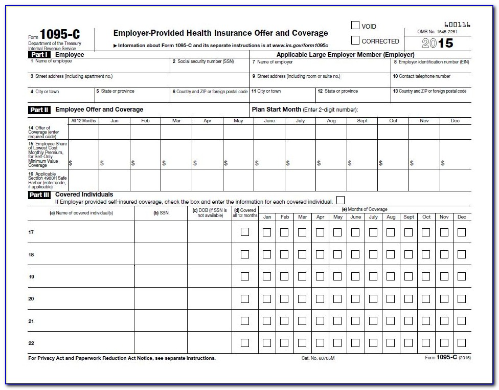 Form 1095 C Reporting Requirements