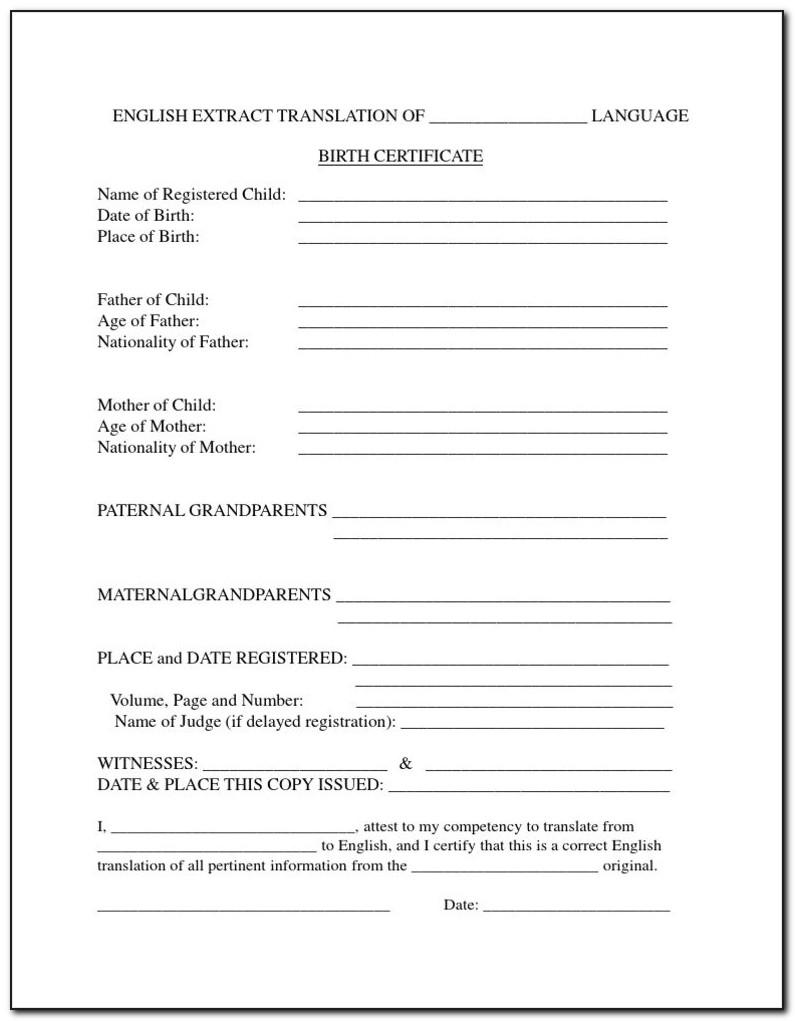 Form Birth Certificate Translation