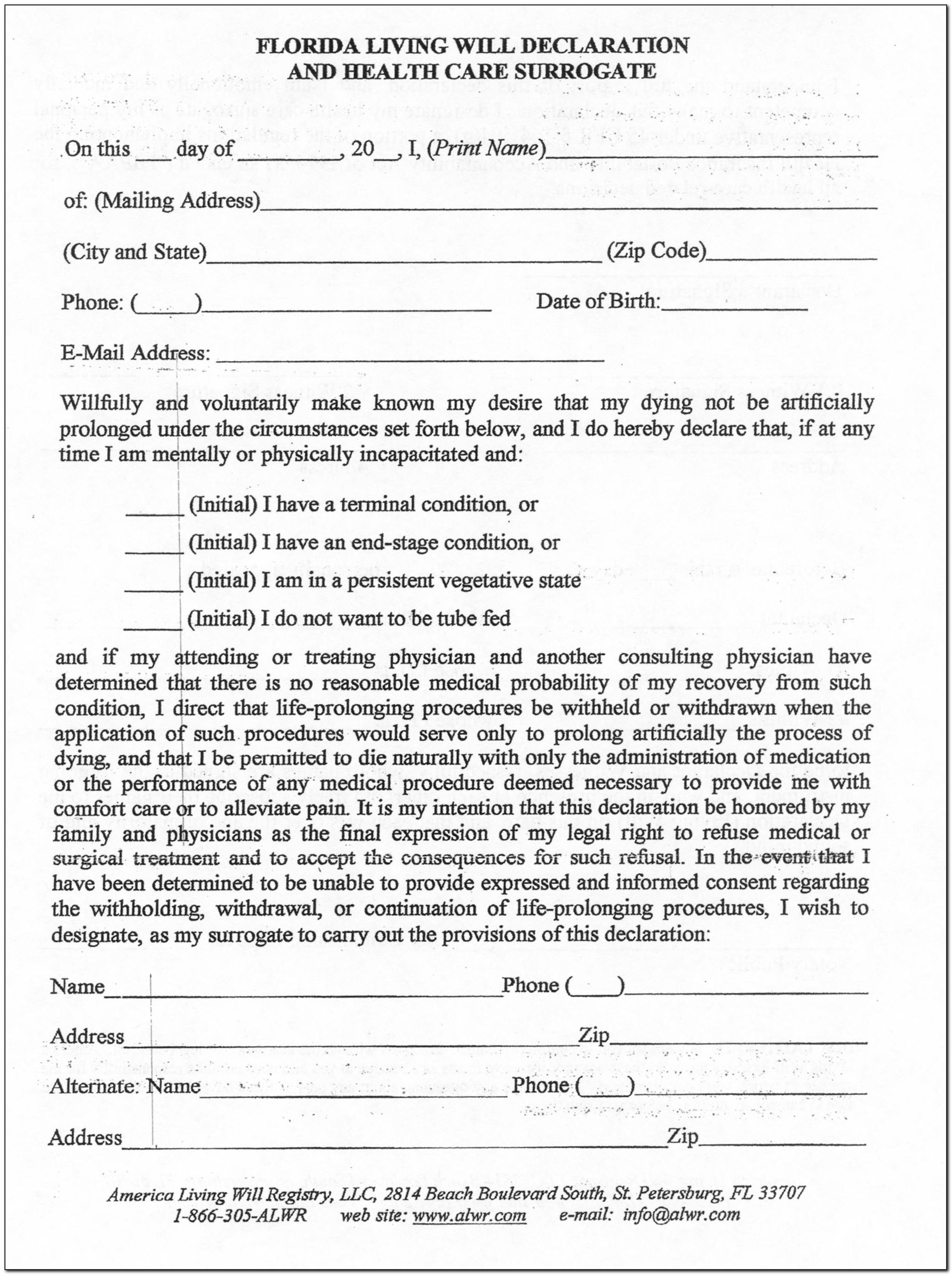 Form For Living Will Texas