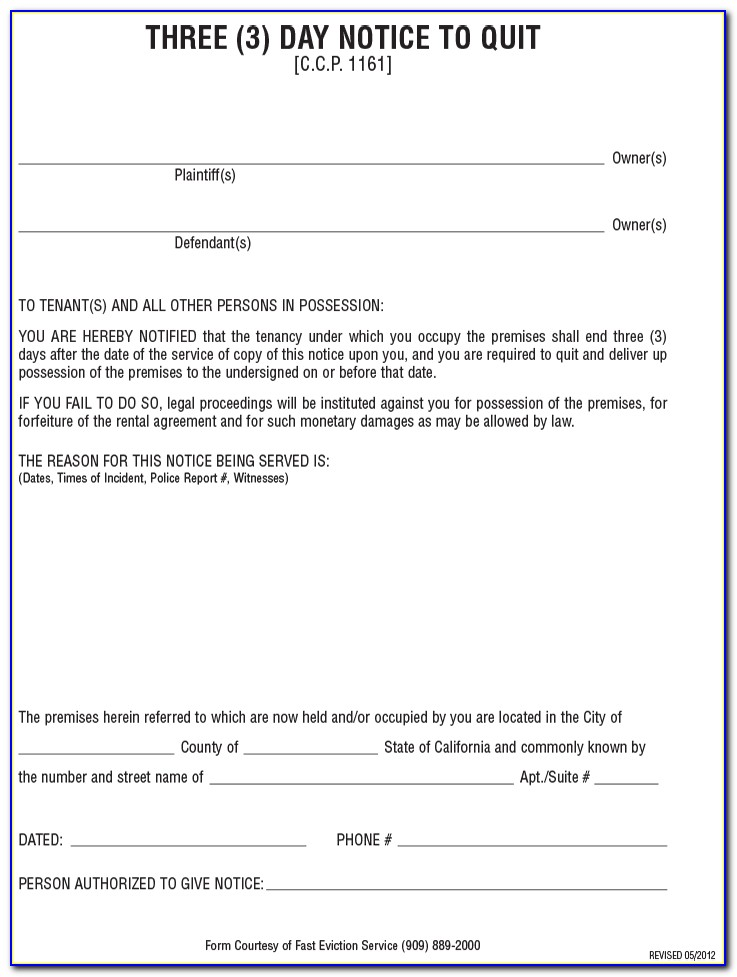 Free 3 Day Eviction Notice Form