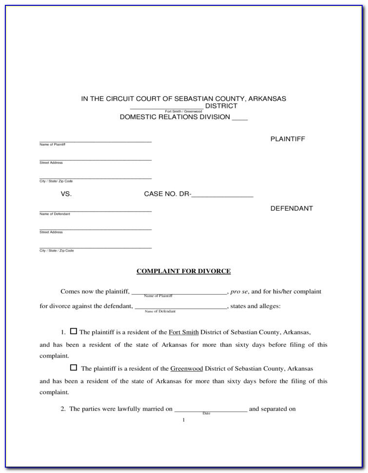 Free Arkansas Divorce Forms Download