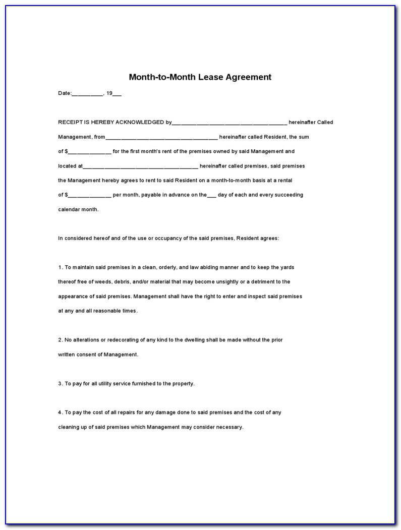 Free Basic Month To Month Rental Agreement Forms