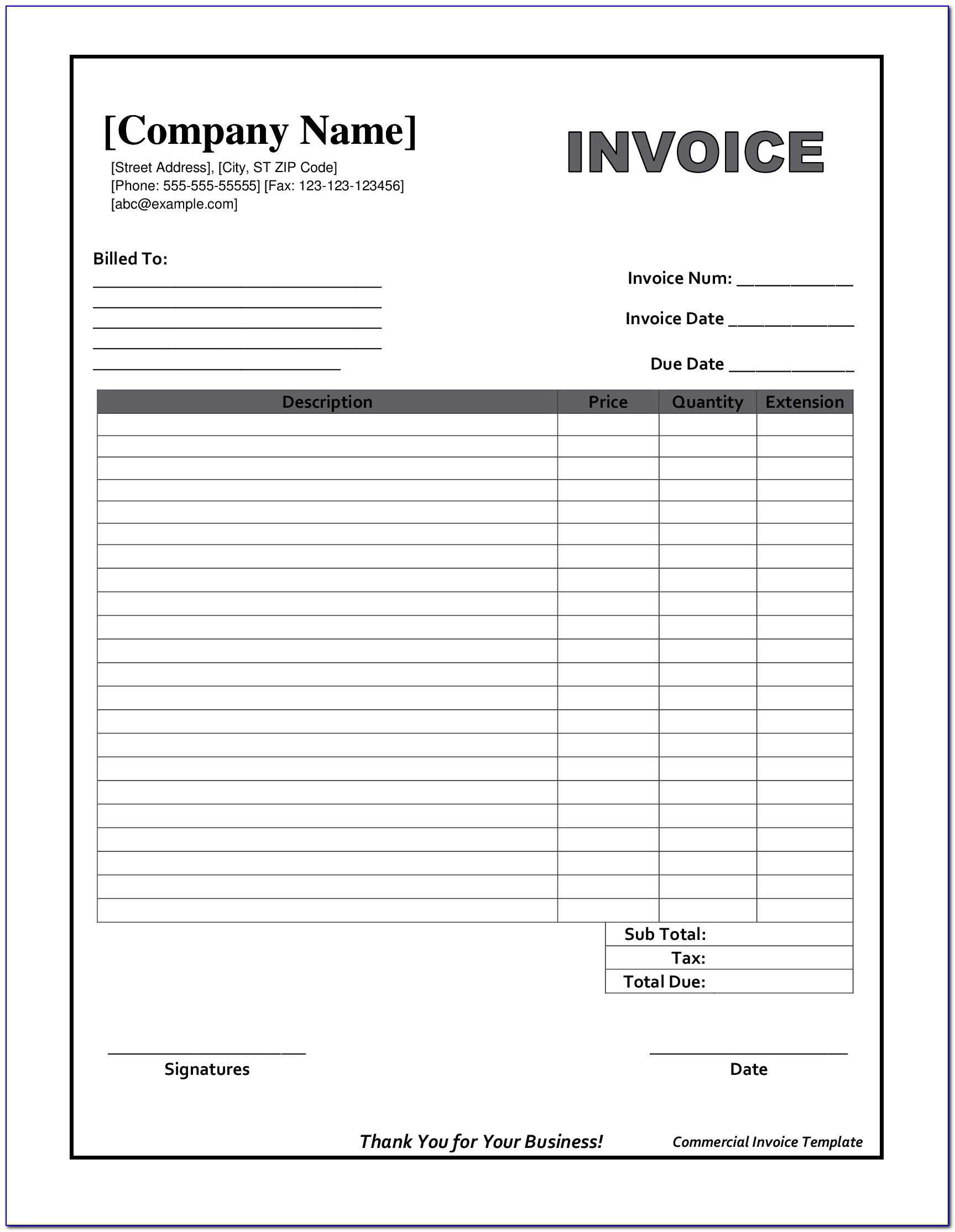 Free Blank Billing Invoice Template