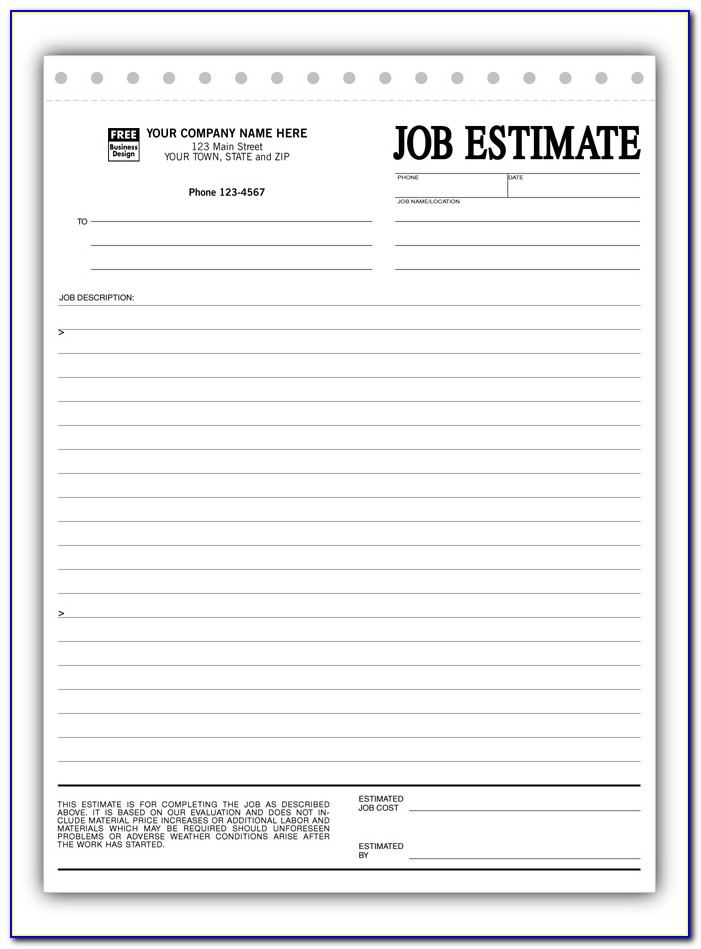 Free Blank Estimate Forms For Contractors