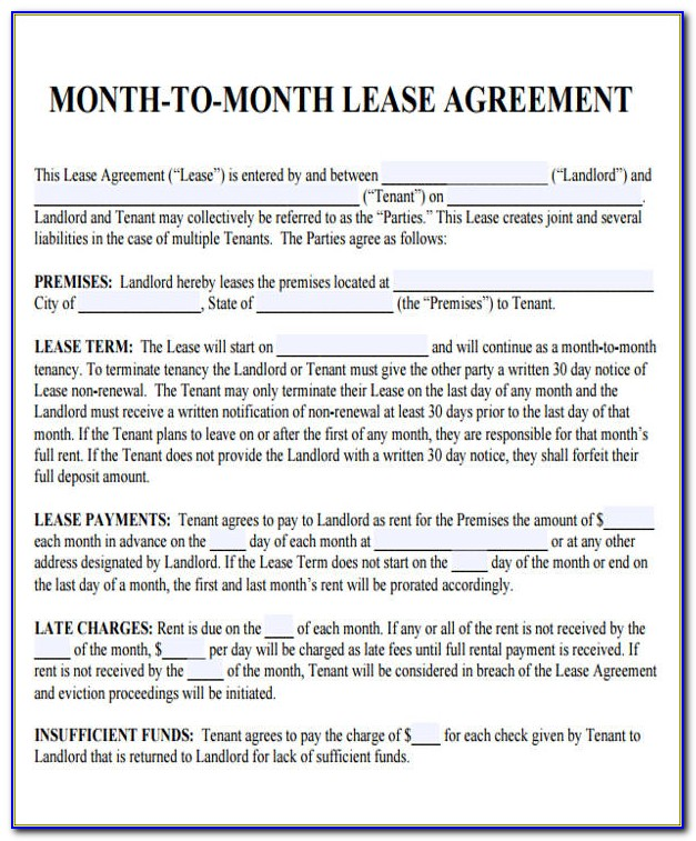 Free Ca Month To Month Rental Agreement Form