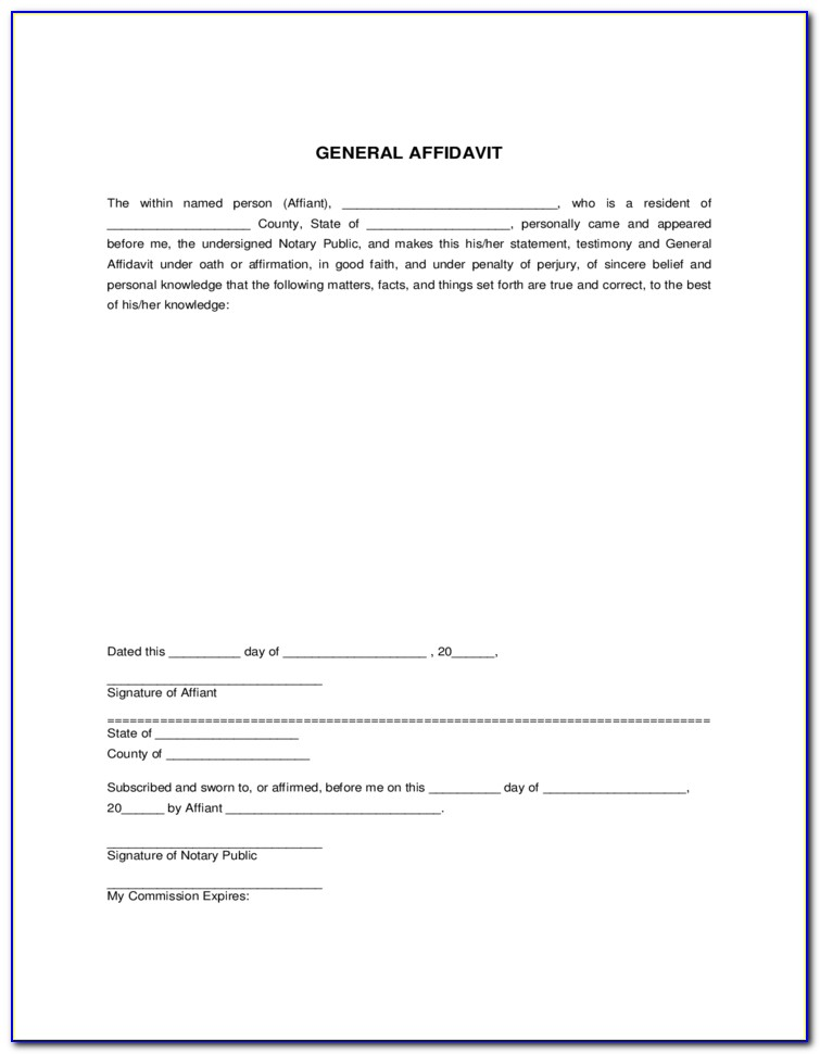 Free California General Affidavit Form