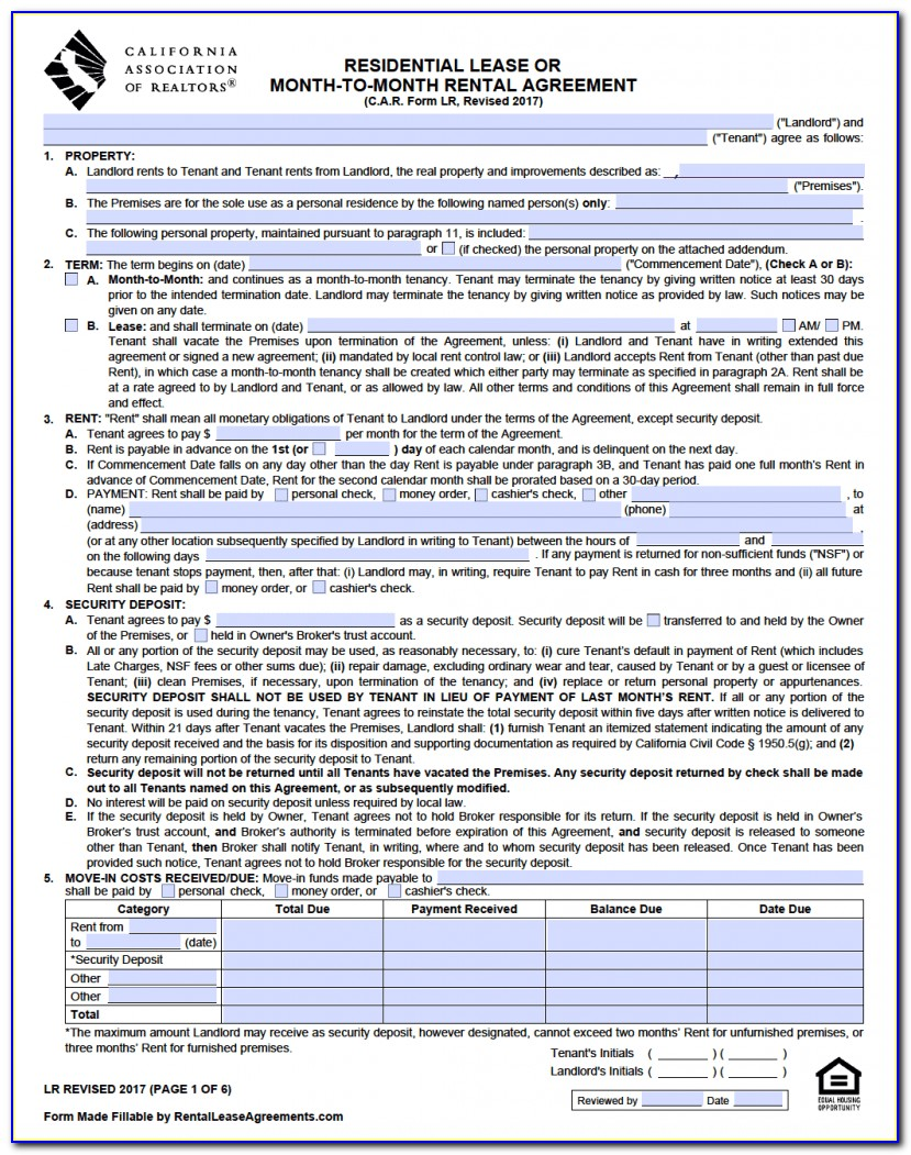 Free California Rental Lease Agreement Form