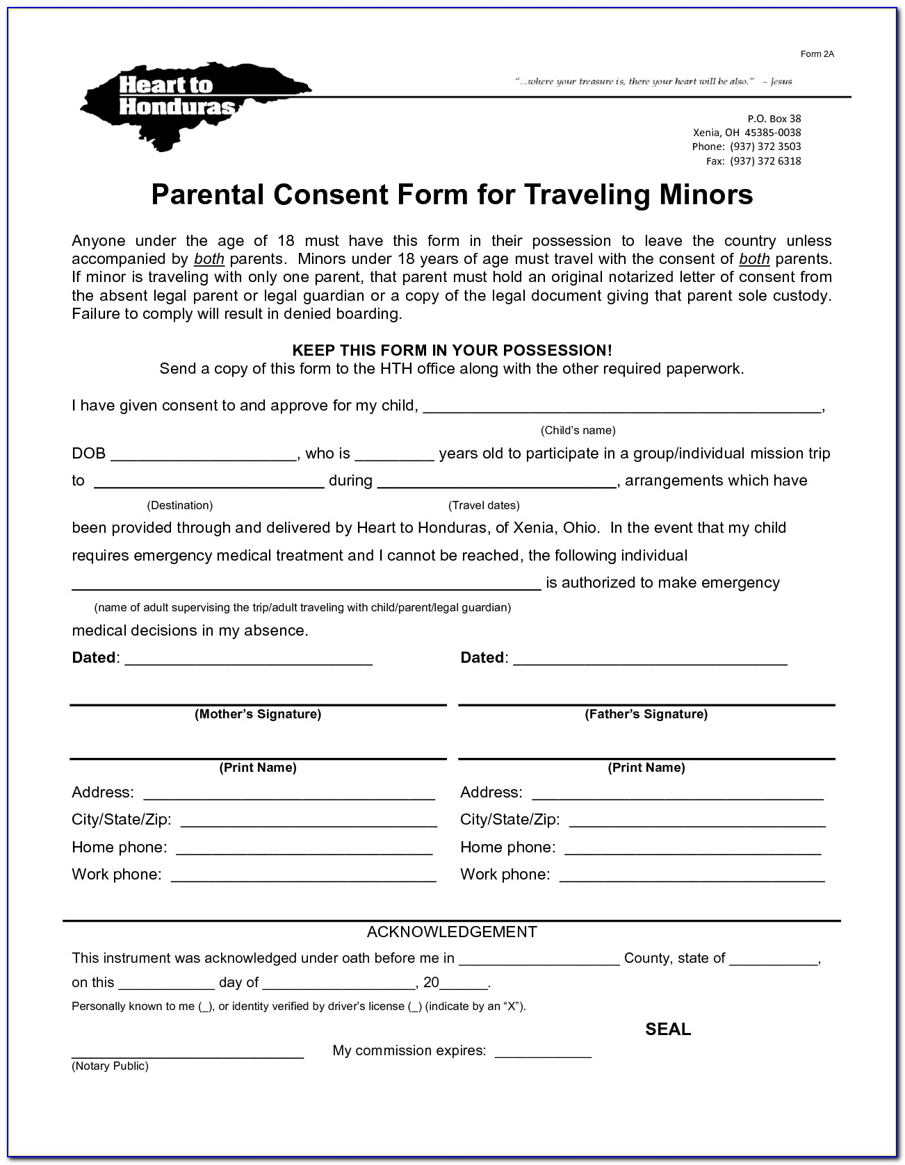 Free Child Consent Form Travel Template
