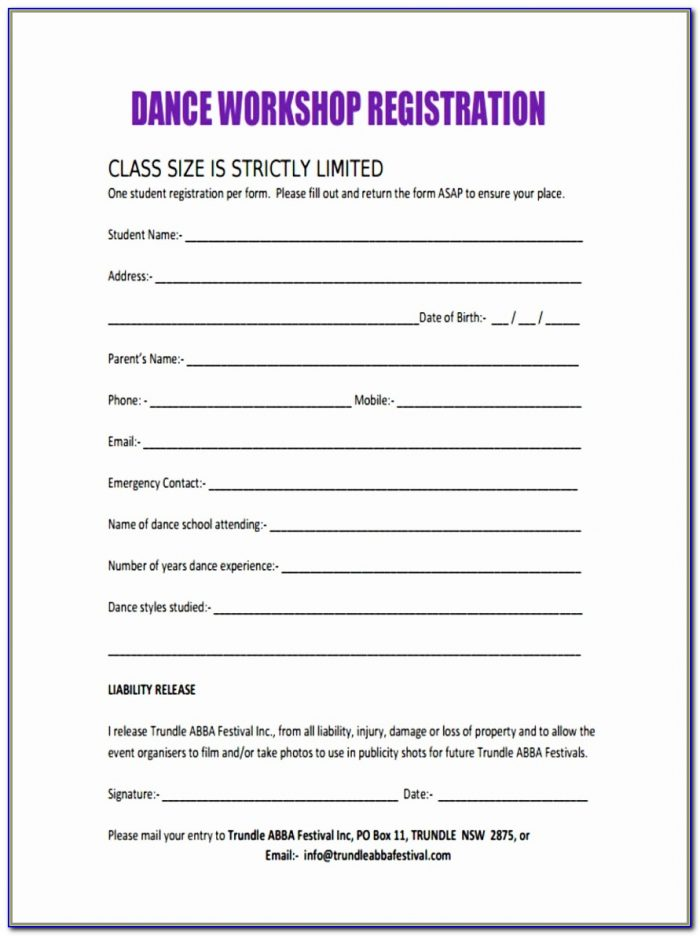 10 Workshop Registration Forms Free Sample Example Format Download Simple Dance School Registration Form Template Free Best Of Pdf Word Excel Best Templates Oiapl