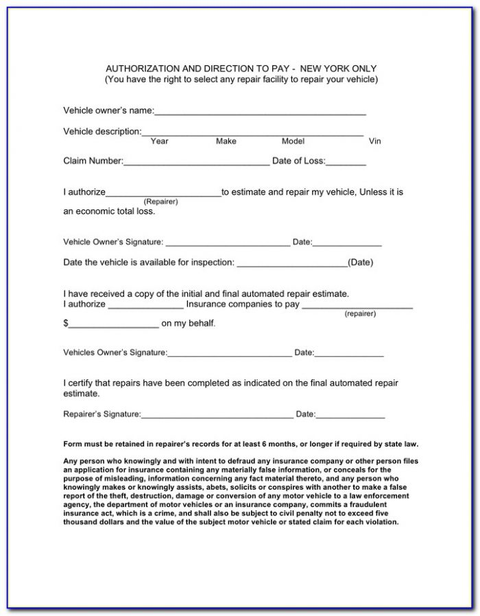 Free Direction To Pay Form