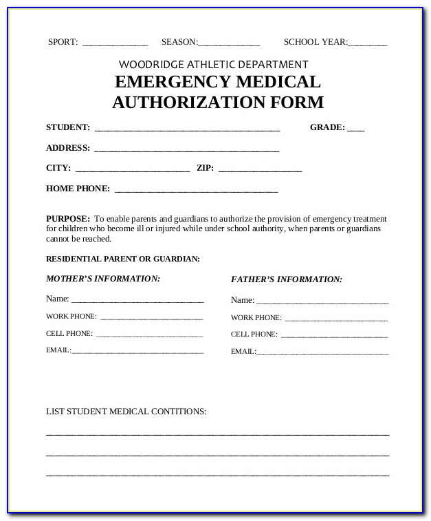 Free Downloadable Child Medical Consent Form