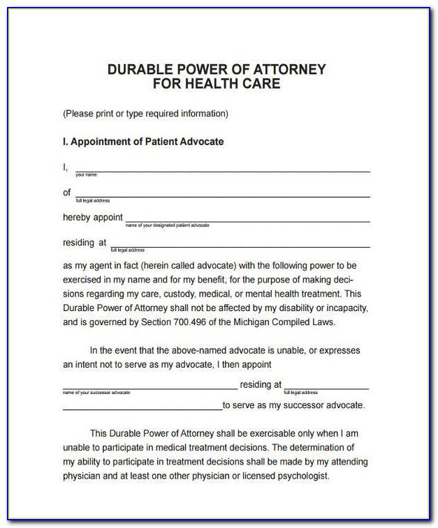Free Durable Power Of Attorney For Health Care Form