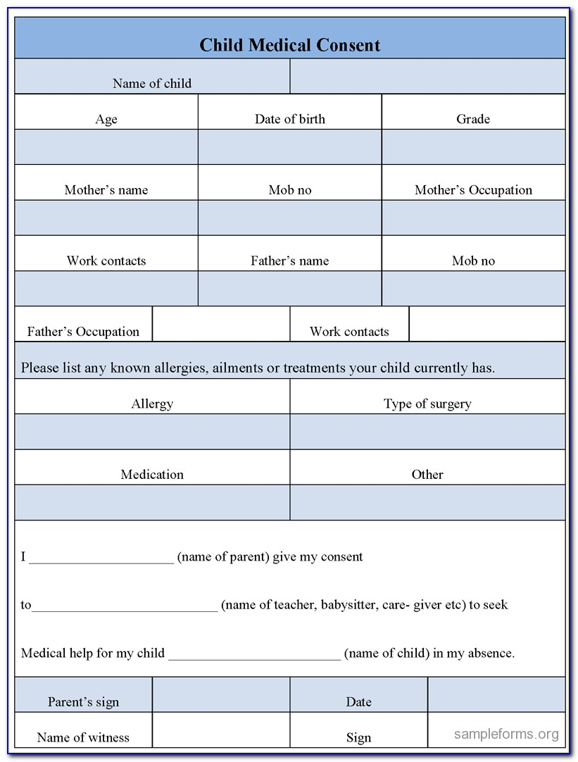 Free Emergency Medical Authorization Form For Child