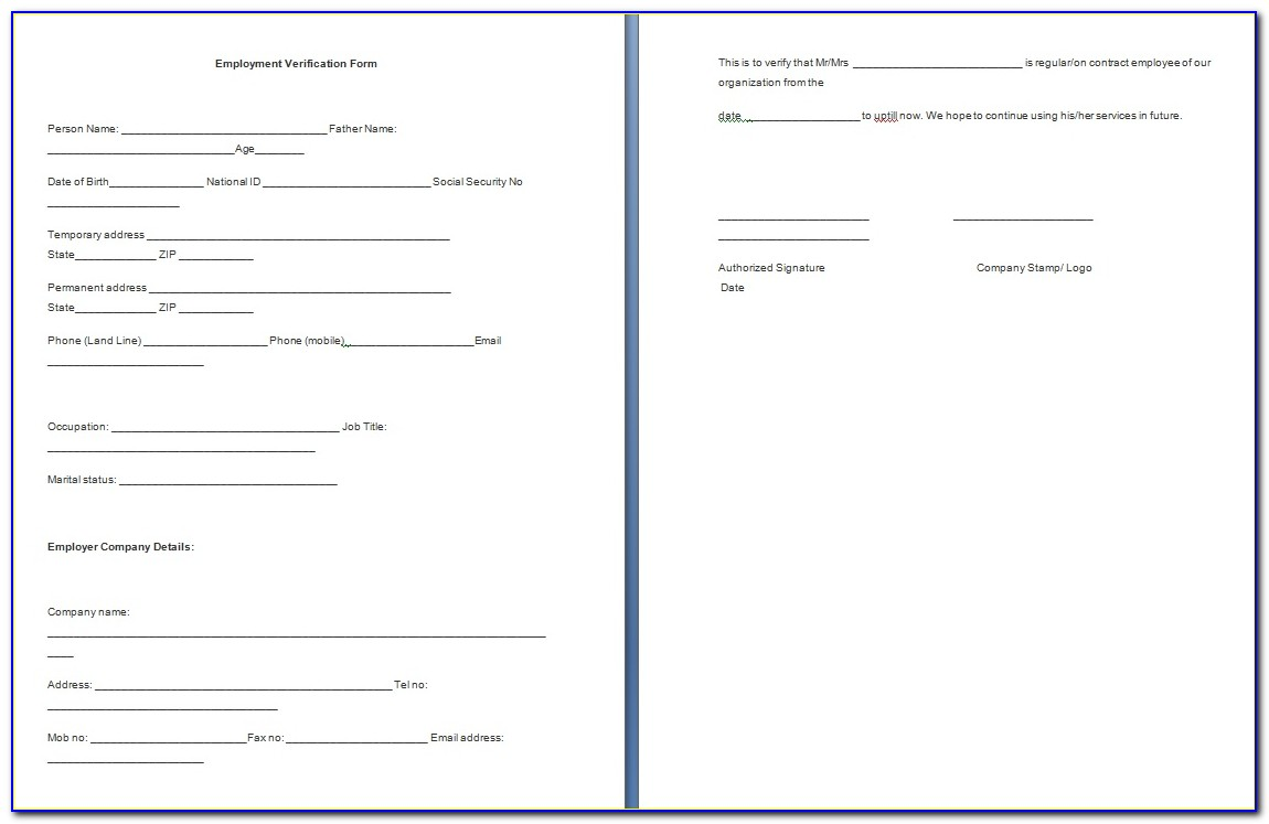 Free Employment Verification Form Template