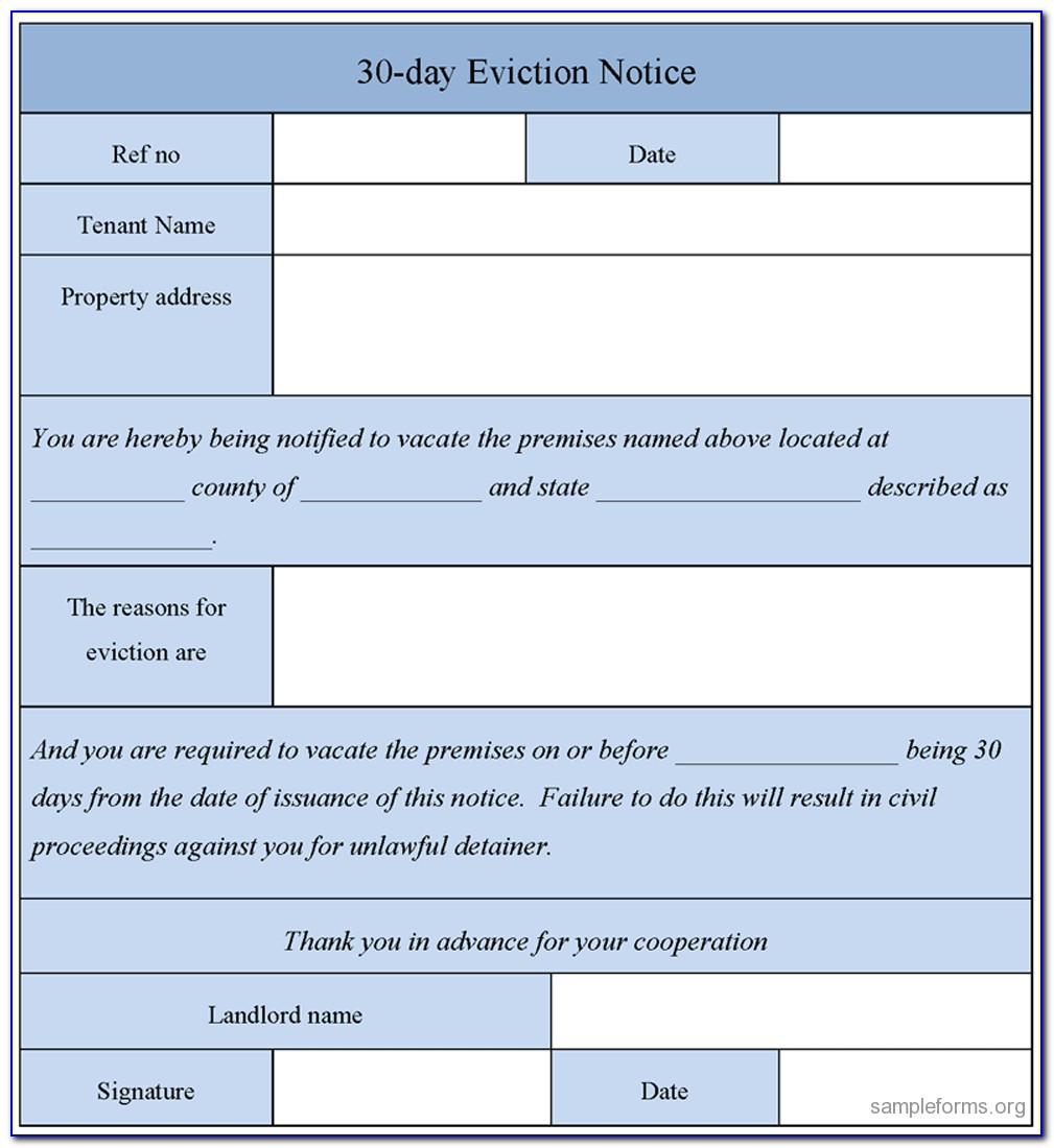 Free Eviction Notice Form Pdf