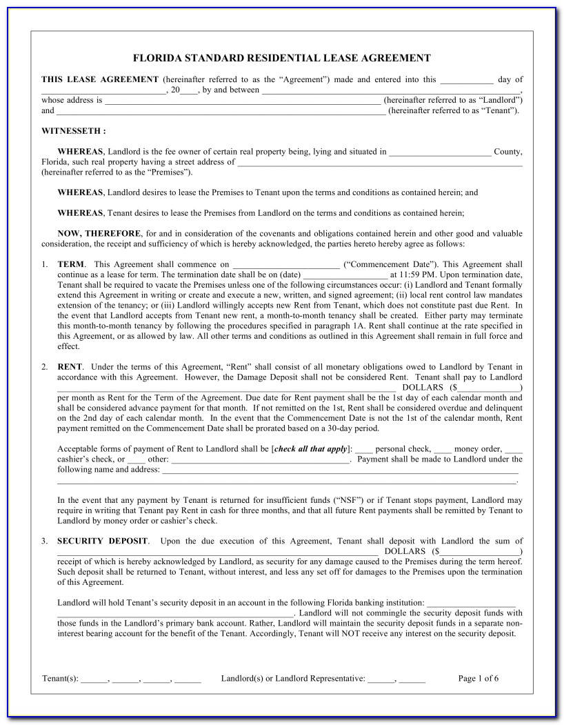 Free Florida Residential Lease Form
