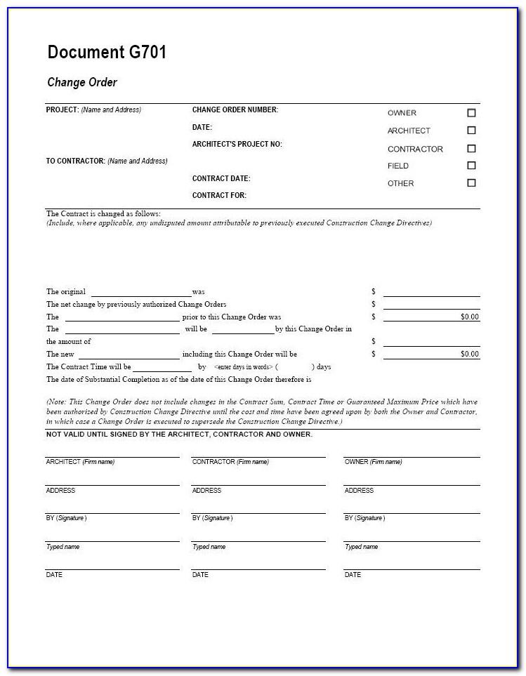 Free G701 Change Order Form