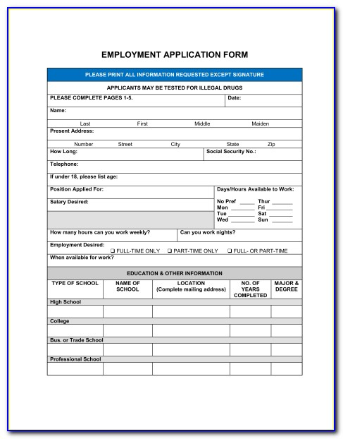 Free Generic Employment Application Form Template