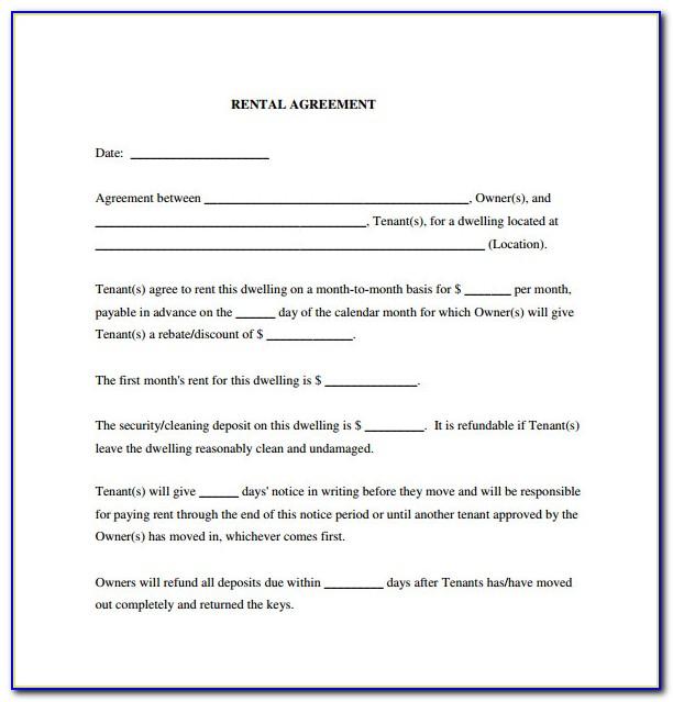Free Generic Rental Agreement Form
