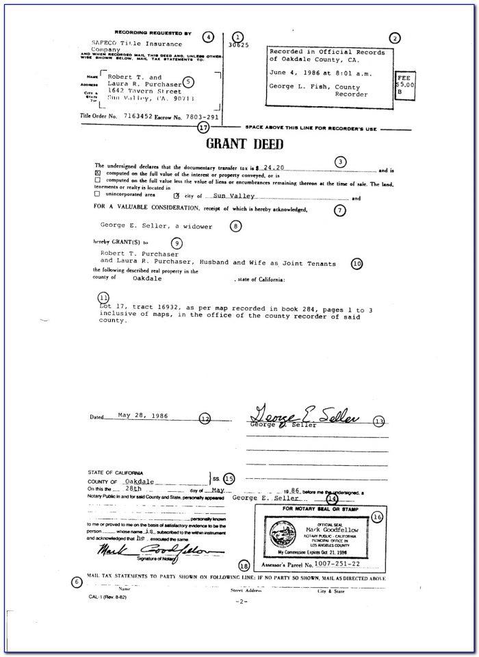 Free Grant Deed Form California