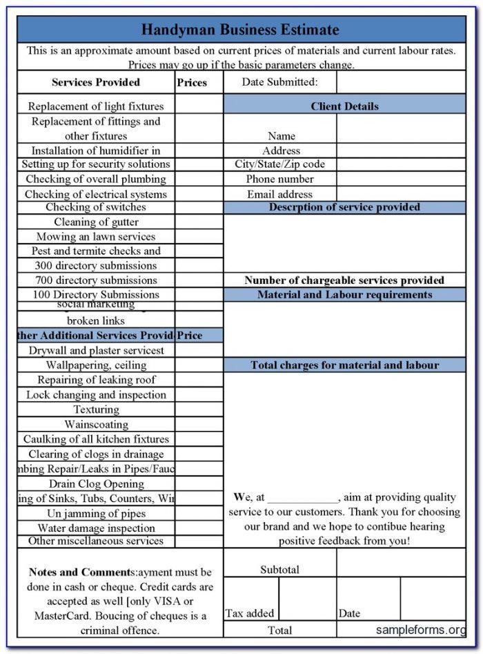 Free Handyman Estimate Forms Templates