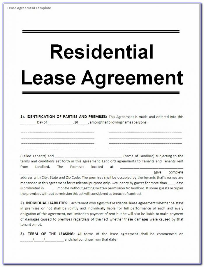 House Rental Agreement Contract Forms Form Resume