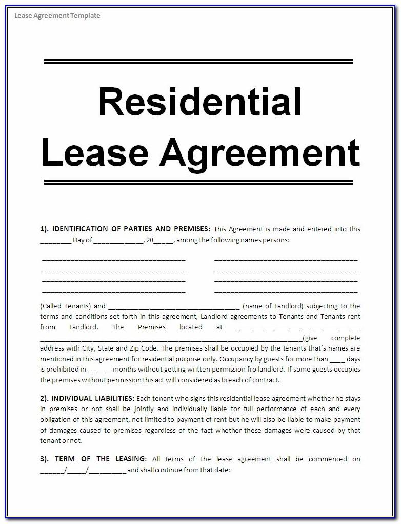 Free House Rental Agreement Form Pdf