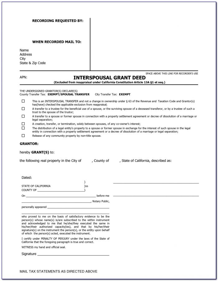 Free Interspousal Transfer Deed California Form